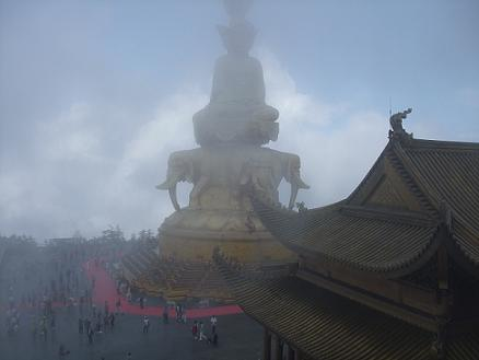 emeishan mountain with golden buddha