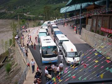 coaches and minibuses are waiting
